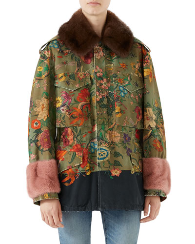 Stone-Wash Canvas Jacket w/Mink Fur Trim