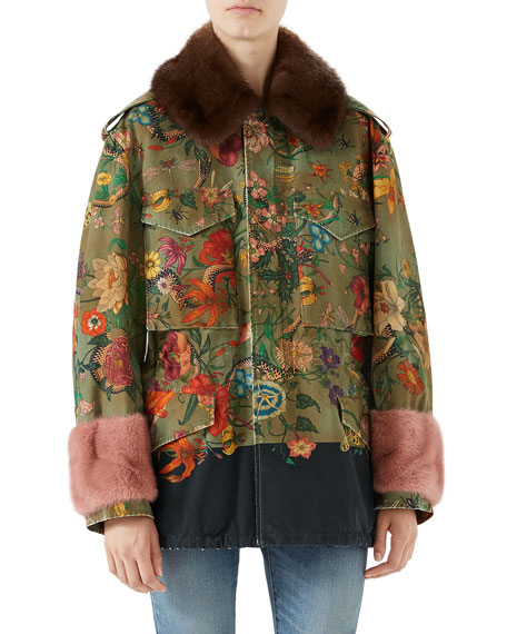 Stone-Wash Canvas Jacket w/Mink Fur Trim