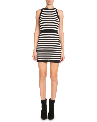 Striped Sleeveless Mini Dress