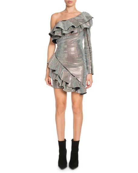Ruffled Metallic One-Shoulder Dress