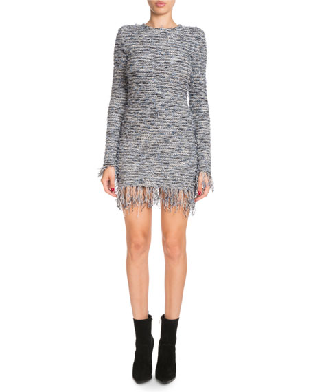 Frayed Tweed Crewneck Dress