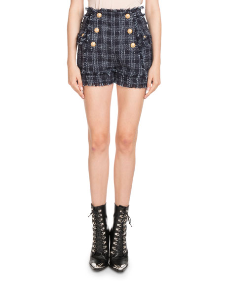 High-Waist Tweed Button-Front Shorts