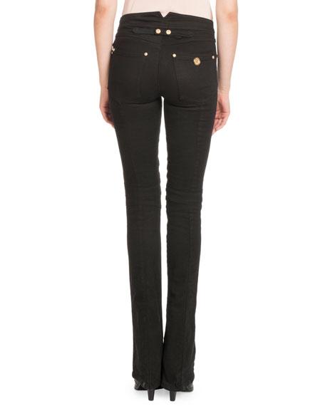 Button-Front Denim Pants