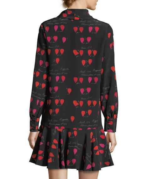 Heart-Print Tie-Neck Dress