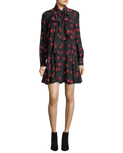 Heart-Print Tie-Neck Dress