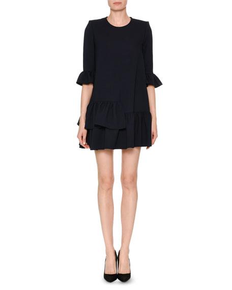 Ruffle-Trim Wool-Blend Dress