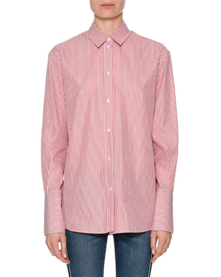 Striped Poplin Button-Down Shirt