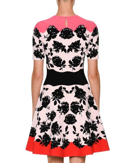 Short-Sleeve Rose Knit Flare Dress