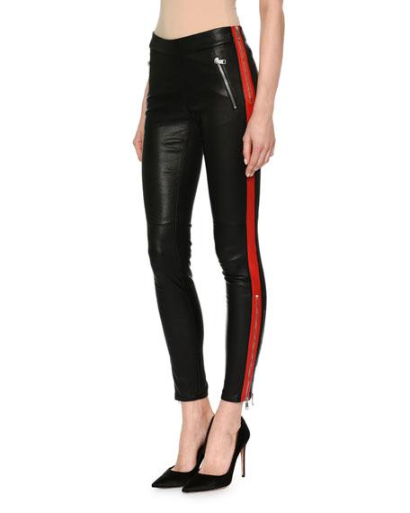 Leather Zip-Trim Tuxedo Leggings