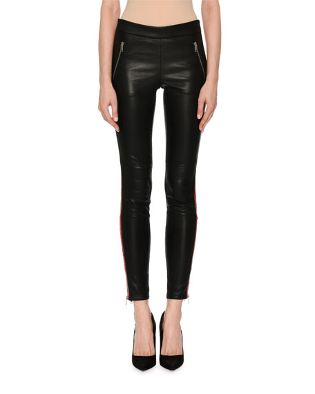 Leather Zip-Trim Tuxedo Leggings