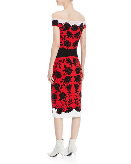 Off-Shoulder Rose Knit Midi Dress