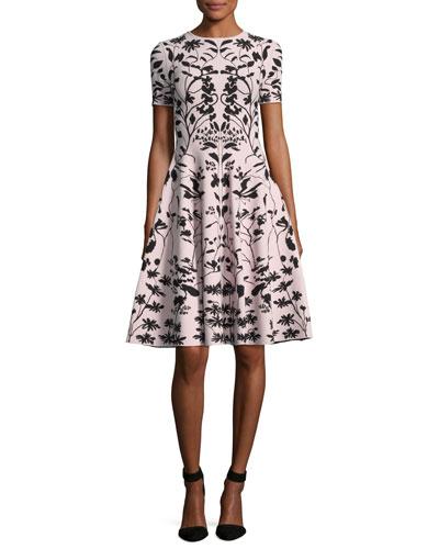 Short-Sleeve Botanical Knit Dress