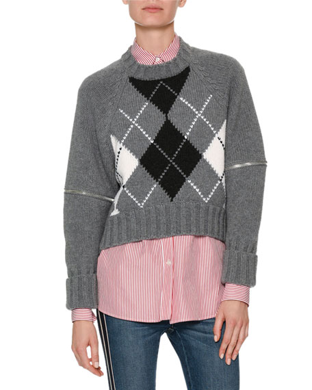 Long-Sleeve Zip-Elbow Argyle Sweater