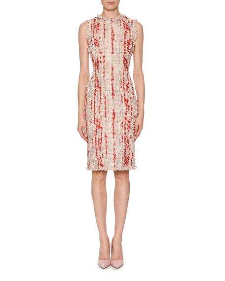 Sleeveless Frayed Tweed Sheath Dress