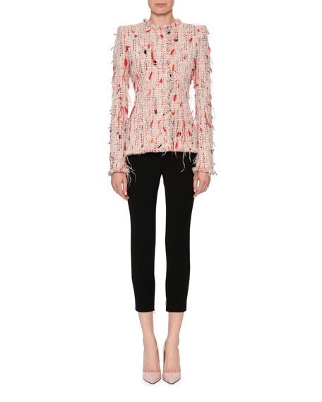 Feather-Embellished Tweed Jacket