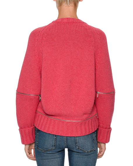 Zip-Elbow Sweater w/Jewels