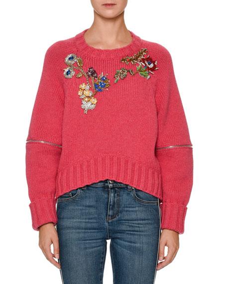 Zip-Elbow Sweater w/Jewels