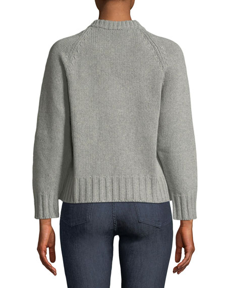 Jeweled Crewneck Cashmere-Wool Sweater