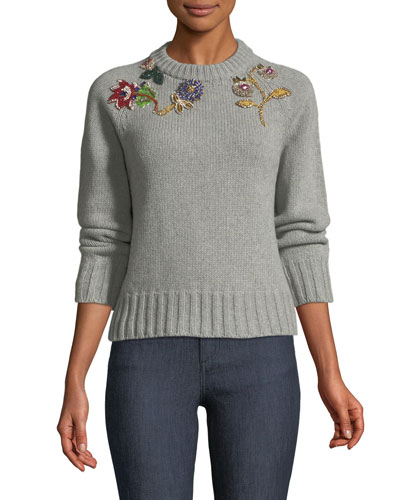 Jeweled Crewneck Cashmere-Wool Sweater