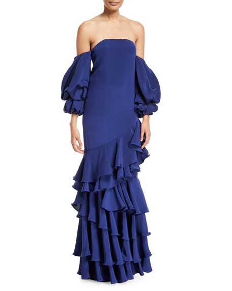 Masquerade Off-Shoulder Ruffle Gown