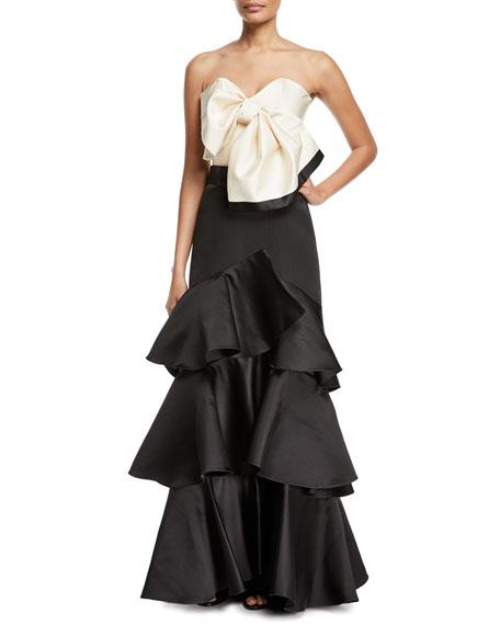 Aragonese Tiered Satin Maxi Skirt