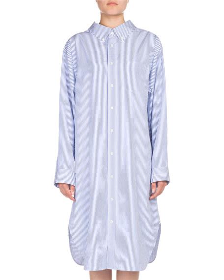 Striped Cotton Swing Shirtdress