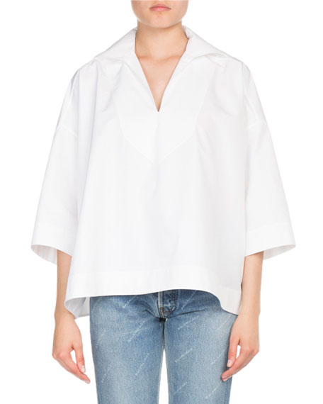3/4-Sleeve Poplin Sailor Top