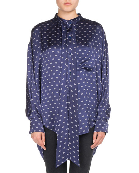 BB-Print Satin Tie-Neck Blouse