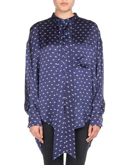 Balenciaga BB-Print Satin Tie-Neck Blouse