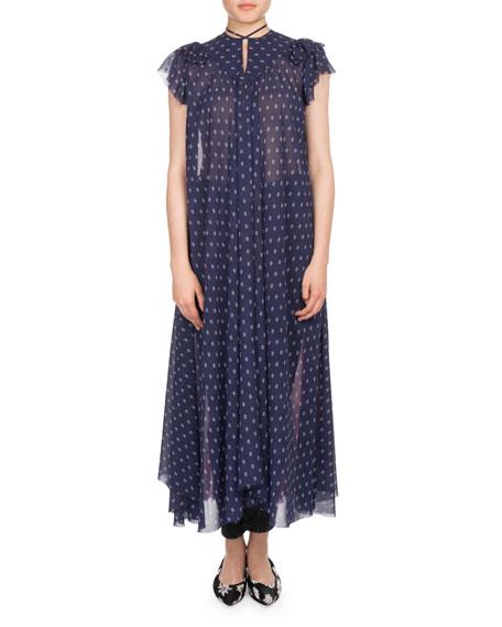 Cap-Sleeve Mixed-Print Chiffon Midi Dress