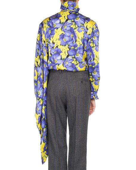 Poppy-Print Kimono Sleeve Blouse