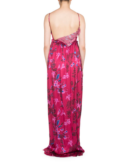 Ruffled Floral-Print Summer Gown