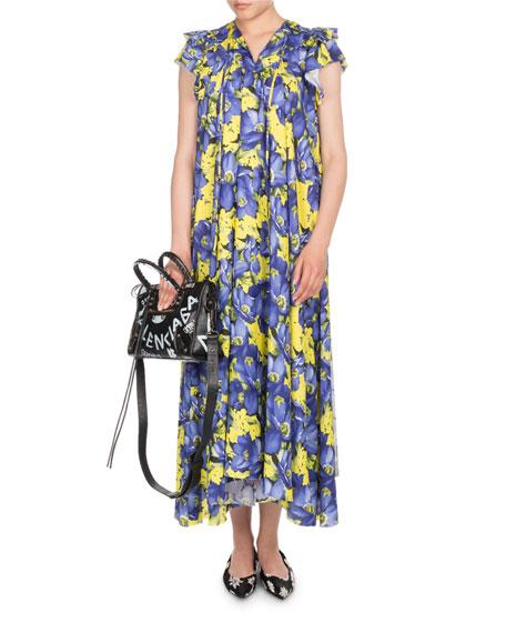 Poppy-Print Cap-Sleeve Midi Dress