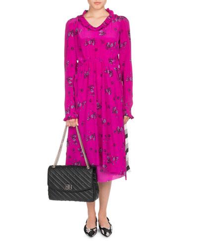 Ruffled Floral-Print Silk Dress