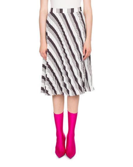 Pleated Sunray Striped Midi Skirt