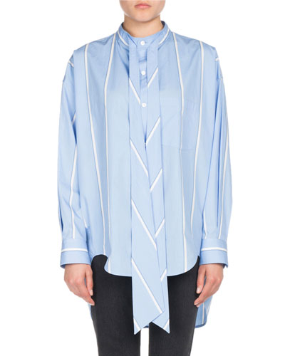 Striped Long-Sleeve New Swing Blouse with Logo
