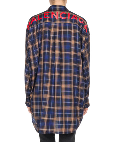Plaid Long-Sleeve New Swing Blouse with Logo