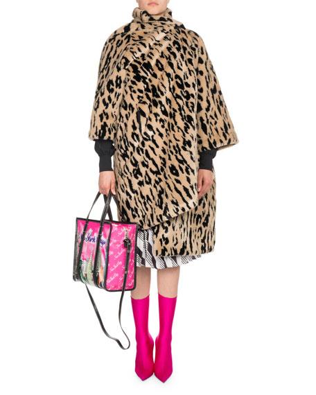 Leopard-Print Faux Fur Opera Coat
