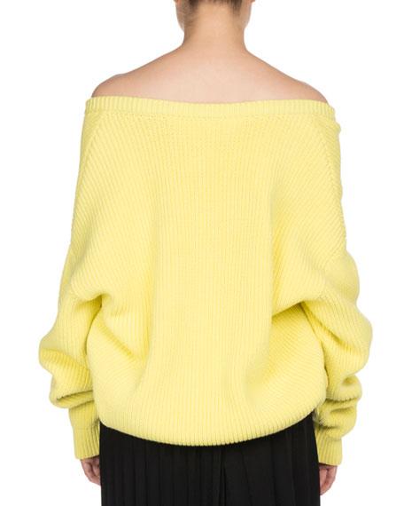 Ribbed Knit Off-Shoulder Sweater