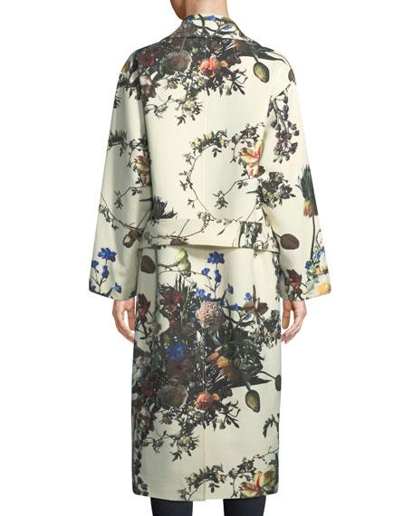 Floral-Print Cocoon Coat