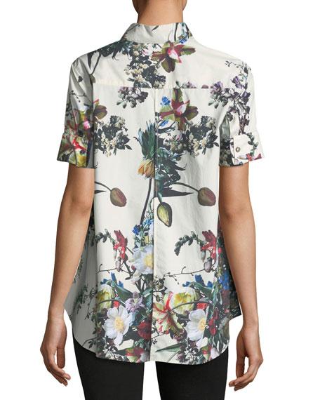 Floral-Print Poplin Trapeze Blouse