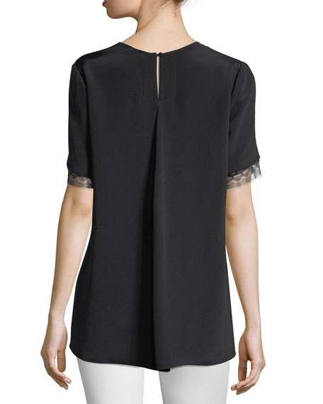 Lace-Trim Crepe T-Shirt