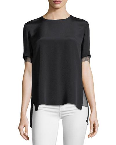 Lace-Trim Crepe T-Shirt