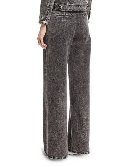 Wide-Leg Denim Twill Pants
