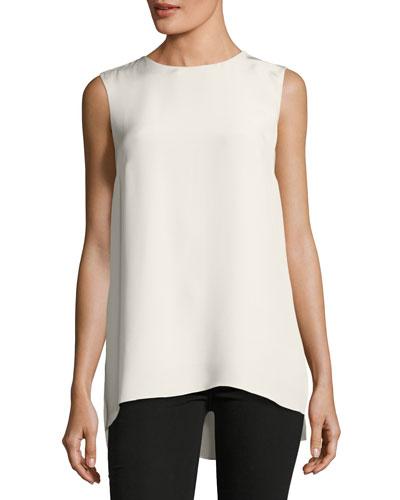 Sleeveless Silk Crepe Tunic Top