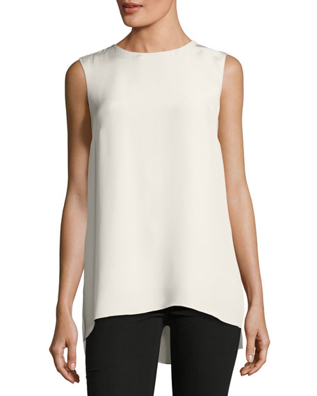 Sleeveless Silk Crepe Tunic Top