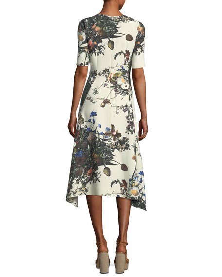 Half-Sleeve Floral-Print Trapeze Dress