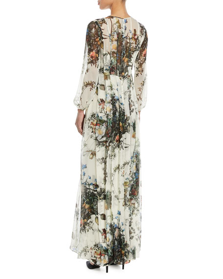 Pleated Long-Sleeve Floral Silk Gown