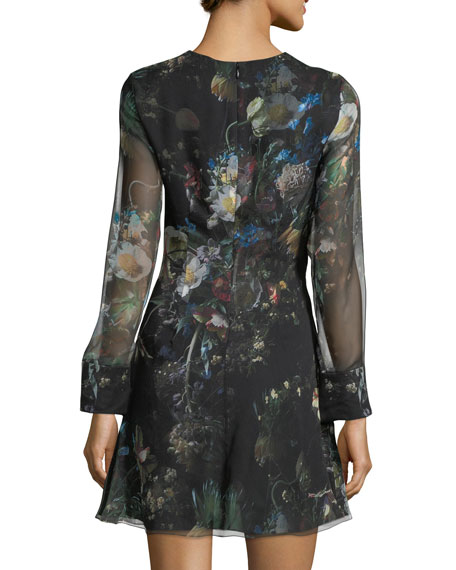 Long-Sleeve Floral Chiffon Mini Dress