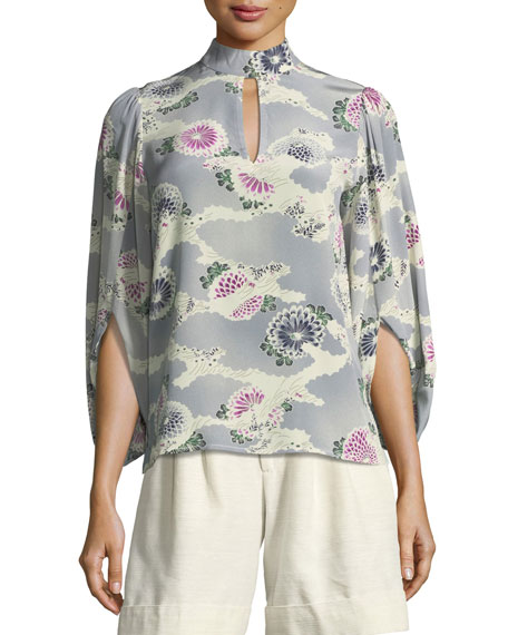 Mock-Neck Silk Kimono Blouse